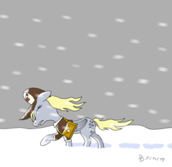 Size: 1920x1869 | Tagged: safe, artist:darkdabula, derpy hooves, pegasus, pony, alone, atg 2019, cap, clothes, eyes closed, female, folded wings, gritted teeth, hat, jacket, mailbag, mailmare, mare, newbie artist training grounds, snow, snow storm, snowfall, solo, storm, wind, windswept mane, wings