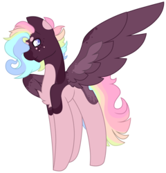 Size: 2789x2901 | Tagged: artist:midnightamber, eye covered by hair, fullbody, muticolored body, muticolored mane, oc, oc:jaxon, pegasus, pony, rainbow hair, safe, simple background, smiling, solo, spots, spread wings, standing, transparent background, wings