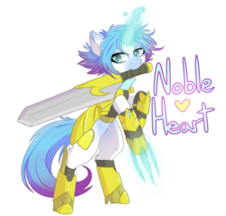 Size: 1668x1593 | Tagged: armor, artist:umbreow, claws, female, magic, mare, markings, mouth hold, oc, oc:noble heart, oc only, pony, rearing, royal guard, safe, simple background, solo, sword, text, transparent background, weapon