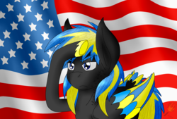Size: 2300x1559 | Tagged: american flag, artist:midnightfire1222, commission, flag background, oc, oc:arc flash, patriotic, pegasus, pony, proud, safe, salute, solo