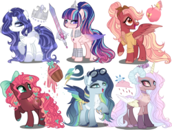 Size: 4500x3400 | Tagged: armor, artist:gihhbloonde, bow, chest fluff, clothes, colored hooves, colored wings, crown, cutie mark, earth pony, female, freckles, goggles, gradient wings, hair bow, hair ribbon, hybrid, interspecies offspring, jewelry, mare, multicolored wings, necklace, oc, oc only, offspring, parent:big macintosh, parent:cheese sandwich, parent:discord, parent:fancypants, parent:flash sentry, parent:fluttershy, parent:pinkie pie, parent:princess celestia, parent:rainbow dash, parent:rarity, parents:cheesepie, parents:dislestia, parents:flashlight, parents:fluttermac, parent:soarin', parents:raripants, parents:soarindash, parent:twilight sparkle, pegasus, pony, regalia, ribbon, safe, shirt, simple background, sword, transparent background, unicorn, unshorn fetlocks, weapon, wings