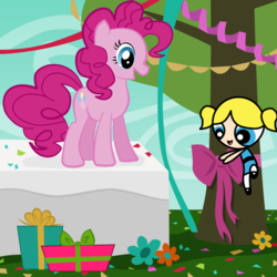 Size: 1000x1000 | Tagged: artist:vmkhappy-panda, bow, bubbles (powerpuff girls), cartoon network, crossover, decoration, earth pony, flower, party, pinkie pie, pony, present, safe, streamers, the powerpuff girls, tree