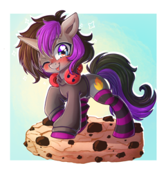 Size: 2301x2397 | Tagged: artist:chaosangeldesu, chibi, clothes, cookie, food, headphones, hoodie, male, oc, oc only, oc:purple flame, one eye closed, :p, safe, socks, solo, stallion, standing, striped socks, tongue out, unicorn, wink