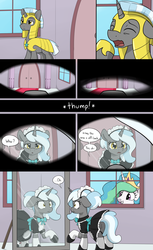 Size: 3000x4900 | Tagged: alicorn, armor, artist:skitter, bowtie, clothes, comic, comic:demoted, crown, eyes closed, female, female pov, floppy ears, gotcha, grin, jewelry, looking at self, maid, male to female, mirror, offscreen character, pony, pov, princess celestia, regalia, royal guard, rule 63, safe, smiling, speech bubble, story in the comments, transformation, transgender transformation, trollestia, unicorn, yawn