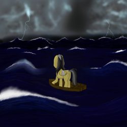 Size: 1000x1000 | Tagged: safe, artist:shoophoerse, daring do, pegasus, pony, atg 2019, boat, female, injured, injured wing, lightning, newbie artist training grounds, ocean, solo, storm, wings