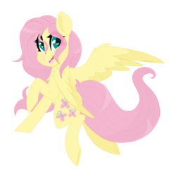 Size: 2000x2000 | Tagged: safe, artist:sleepysuika, fluttershy, pegasus, pony, cute, female, looking at you, looking sideways, mare, open mouth, shyabetes, simple background, smiling, solo, spread wings, stray strand, transparent background, wings