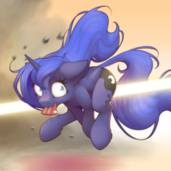 Size: 2000x2000 | Tagged: safe, artist:ohemo, princess luna, alicorn, pony, action pose, atg 2019, beam, biting, blast, cake, cake theft, cheek fluff, cute, cutie mark, dead mare walking, disproportionate retribution, ear fluff, featured image, female, floppy ears, food, funny, implied princess celestia, laser, looking back, lunabetes, magic, magic beam, magic blast, mare, missing accessory, mouth hold, newbie artist training grounds, nom, now you fucked up, offscreen character, running, scared, shocked, shrunken pupils, solo, stealing, this will end in banishment, this will end in tears and/or a journey to the moon, uh oh, wide eyes