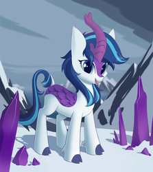 Size: 1663x1865 | Tagged: artist:kyrgyzpopstar, cloven hooves, colored hooves, crystal, crystal empire, cute, female, gleamibetes, gleaming shield, kirin, kirin-ified, mountain, rule 63, safe, shining armor, snow, solo, species swap