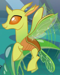 Size: 380x477 | Tagged: background changeling, changedling, changeling, cropped, flying, raised hoof, safe, screencap, smiling, solo, to where and back again