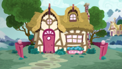 Size: 2880x1620 | Tagged: fence, house, no pony, petunia paleo's house, ponyville, safe, screencap, the fault in our cutie marks, tree