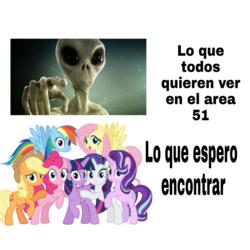 Size: 720x720   Tagged: safe, applejack, fluttershy, pinkie pie, rainbow dash, rarity, starlight glimmer, twilight sparkle, alicorn, alien, area 51, meme, spanish, text, translated in the comments, twilight sparkle (alicorn)