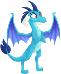 Size: 1553x1856 | Tagged: artist:kimmyartmlp, crossed arms, princess ember, safe, signature, simple background, smiling, solo, spread wings, transparent background, wings