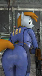 Size: 1080x1920 | Tagged: 3d, ak74, anthro, artist:spinostud, ass, blushing, butt, clothes, fallout equestria, fanfic, fanfic art, female, gun, horn, jumpsuit, looking back, oc, oc:littlepip, oc only, open mouth, pipbuck, pipbutt, rear view, safe, solo, source filmmaker, terminal, vault, vault 111, vault suit, weapon