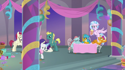Size: 1280x720 | Tagged: safe, screencap, end zone, gallus, ocellus, rarity, silverstream, smolder, sugar maple, changedling, changeling, dragon, earth pony, griffon, hippogriff, pegasus, pony, unicorn, she's all yak, spoiler:s09e07, background pony, female, friendship student, male, mare, stallion