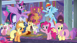 Size: 1280x720 | Tagged: alicorn, applejack, female, fluttershy, friendship student, golden crust, male, mane six, midnight snack (character), november rain, pinkie pie, pony, rainbow dash, rarity, safe, screencap, she's all yak, spoiler:s09e07, sugar cookie, trophy, twilight sparkle, twilight sparkle (alicorn)