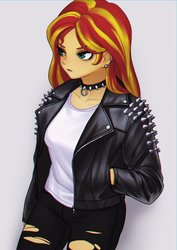 Size: 1158x1638 | Tagged: safe, artist:agaberu, sunset shimmer, equestria girls, choker, chromatic aberration, clothes, collar, ear piercing, eyeshadow, female, hands in pockets, jacket, leather jacket, makeup, piercing, ripped jeans, shirt, simple background, solo, spiked choker, spiked collar, studs, torn clothes, white background
