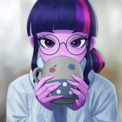 Size: 1158x1158 | Tagged: safe, artist:agaberu, sci-twi, smarty pants, twilight sparkle, equestria girls, bust, clothes, drinking, glasses, long nails, looking at you, mug, ponytail, sweater
