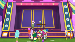 Size: 1280x720 | Tagged: safe, screencap, fry lilac, hunter hedge, laurel jade, lemon zack, mystery mint, paisley, peppermint azure, raspberry lilac, snow flower, space camp (character), sweet leaf, accountibilibuddies, equestria girls, equestria girls series, spoiler:choose your own ending (season 2), spoiler:eqg series (season 2), background human, background human audience, clothes, female, legs, male, shoes