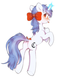 Size: 1461x1969 | Tagged: safe, artist:dagmell, oc, oc:clair, oc:clairvoyance, pony, unicorn, blackletter, blushing, bow, hair bow, ribbon, simple background, tail bow, tongue out, white background