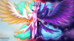 Size: 2880x1620 | Tagged: alicorn, artist:shad0w-galaxy, butt wings, female, fusion, glowing eyes, mare, pony, princess celestia, princess luna, royal sisters, safe, smiling, twilight sparkle, twilight sparkle (alicorn), wings