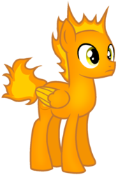 Size: 809x1198 | Tagged: artist:rainbow eevee, base used, battle for dream island, bfdi, colored wings, fire, firey, firey (bfdi), male, pegasus, ponified, pony, safe, simple background, solo, transparent background, wings, yellow eyes