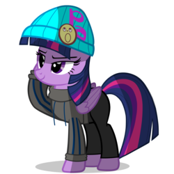 Size: 3000x3000 | Tagged: ace attorney, alicorn, clothes, crossover, derpibooru exclusive, female, hat, hobo, hobo pony, mare, phoenix wright, pony, safe, simple background, solo, sweater, transparent background, twilight sparkle, twilight sparkle (alicorn)