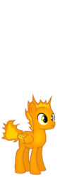 Size: 176x518 | Tagged: artist:rainbow eevee, base used, battle for dream island, bfdi, colored wings, fire, firey jr., firey jr. (bfdi), junior, male, pegasus, ponified, pony, safe, simple background, small, solo, tiny, transparent background, wings