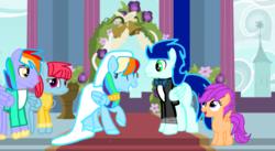 Size: 1280x700   Tagged: safe, artist:mlplary6, bow hothoof, rainbow dash, scootaloo, soarin', windy whistles, pegasus, pony, female, male, marriage, shipping, soarindash, straight, wedding
