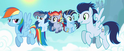 Size: 4400x1808 | Tagged: safe, artist:diamond-chiva, rainbow dash, soarin', pony, family, female, male, offspring, parent:rainbow dash, parent:soarin', parents:soarindash, shipping, soarindash, straight