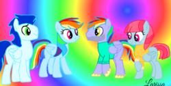 Size: 1280x646   Tagged: safe, artist:mlplary6, bow hothoof, rainbow dash, soarin', windy whistles, pegasus, pony, female, male, shipping, soarindash, straight, windyhoof