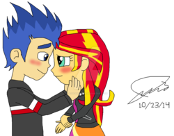 Size: 1024x804 | Tagged: artist:resotii, equestria girls, female, flashimmer, flash sentry, male, safe, shipping, straight, sunset shimmer