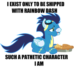 Size: 2900x2629 | Tagged: artist:chainchomp2 edit, caption, clothes, edit, female, food, image macro, implied shipping, implied soarindash, implied straight, male, op is a duck, op is trying to start shit, pegasus, pie, pony, rainbow dash, safe, soarin', solo, straight, text, uniform, wonderbolts uniform