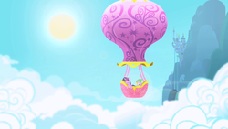 Size: 1280x720 | Tagged: baby, baby dragon, canterlot castle, cloud, cloudy, dragon, eyes closed, hot air balloon, opening, pony, safe, screencap, sky, spike, sun, theme song, twilight sparkle, twinkling balloon, unicorn, unicorn twilight