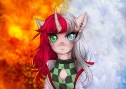 Size: 1420x1000 | Tagged: artist:margony, female, fire, ice, mare, oc, oc only, pony, safe, solo, unicorn