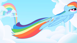 Size: 1280x720 | Tagged: safe, screencap, rainbow dash, pegasus, pony, cloud, cloudy, female, great moments in animation, mare, nyoom, opening, rainbow, smear frame, solo, theme song