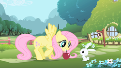 Size: 1280x720 | Tagged: angel bunny, animal, apple, bird house, fence, flower, fluttershy, food, opening, pegasus, pony, rabbit, safe, screencap, theme song, tree