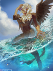 Size: 1620x2160 | Tagged: anthro, artist:calypsovantas, cloud, digitigrade anthro, gilda, looking at you, ocean, open mouth, safe, signature, sky, solo, spread wings, swimming, wet, wings