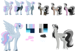 Size: 7937x5669 | Tagged: artist:moonlight0shadow0, blaze (coat marking), boots, chest fluff, chubby, clothes, ear piercing, earring, female, fluffy, freckles, headband, hoodie, jacket, jeans, jewelry, leggings, male, mare, multicolored hair, oc, oc:drizzle cloud, oc:fluffy breeze, oc only, pants, pegasus, piercing, pony, reference sheet, safe, scarf, shoes, simple background, skirt, socks, stallion, sweater, transparent background, unshorn fetlocks