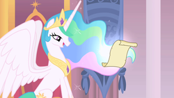 Size: 1280x720 | Tagged: alicorn, canterlot castle, crown, ethereal mane, female, flowing mane, jewelry, letter, lidded eyes, mare, opening, open mouth, pony, princess celestia, proud, regalia, safe, screencap, sitting, smiling, solo, spread wings, theme song, throne, throne room, wings