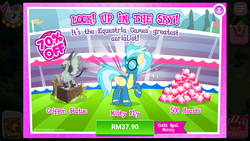 Size: 1280x720 | Tagged: safe, king grover, misty fly, griffon, pegasus, pony, advertisement, costs real money, female, gameloft, gregor, mare, official, sale, statue