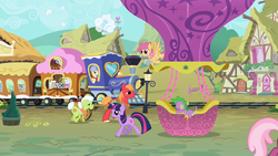 Size: 1280x720 | Tagged: safe, screencap, big macintosh, cheerilee, chelsea porcelain, derpy hooves, dizzy twister, geri, granny smith, mr. waddle, orange swirl, spike, steamer, twilight sparkle, dragon, earth pony, pegasus, pony, unicorn, baby, baby dragon, friendship express, hot air balloon, opening, theme song, twinkling balloon, unicorn twilight