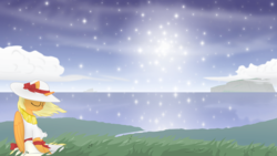 Size: 1920x1080 | Tagged: safe, artist:eagle1division, oc, oc only, alicorn, pony, a world apart, fanfic:tapestry: a world apart, alicorn oc, bow, clothes, dress, eyes closed, female, grass, grass field, hat, mare, ribbon, scenery, scenery porn, solo, starry night, sundress, windswept mane