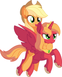Size: 6371x7873 | Tagged: absurd res, alicorn, alicornified, applejack, artist:cyanlightning, big macintosh, brother and sister, brotherly love, closed eye, crown, cute, duo, ear fluff, earth pony, female, flying, jewelry, male, mare, open mouth, ponies riding ponies, pony, princess big mac, race swap, regalia, riding, safe, siblings, simple background, smiling, spread wings, stallion, .svg available, transparent background, unicorn, unshorn fetlocks, vector, wings