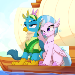 Size: 2900x2900 | Tagged: artist:maren, boat, bunny ears (gesture), clothes, commission, cover art, cute, diastreamies, fanfic, fanfic art, fanfic cover, fanfic:set sail, female, gallstream, gallus, griffon, hippogriff, hippogriff navy, jewelry, male, necklace, one eye closed, prank, safe, shipping, silly, silverstream, smiling, straight, uniform, water