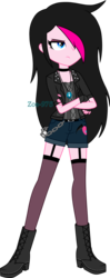 Size: 1288x3241 | Tagged: artist:zoe-975, boots, clothes, crossed arms, equestria girls, equestria girls-ified, female, fingerless gloves, gloves, hair over one eye, human, oc, oc:zoe star pink, safe, shoes, shorts, solo, unamused