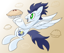 Size: 2400x2000 | Tagged: abstract background, artist:notadeliciouspotato, food, looking at something, male, pegasus, pie, pony, safe, soarin', solo, spread wings, stallion, that pony sure does love pies, wings