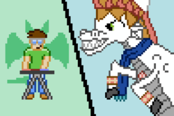 Size: 720x480 | Tagged: artist:derek the metagamer, aseprite, clothes, cornet, crossover, dragon, hat, human, oc, oc:dirk wise, pixel art, rhapsody: a musical adventure, safe, scarf, siren, sirenified, species swap
