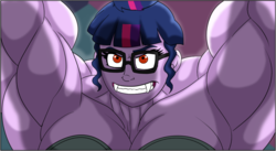 Size: 1140x623 | Tagged: armpits, artist:atariboy2600, artist:bluecarnationstudios, bra, breasts, busty sci-twi, busty twilight sparkle, clothes, comic:the amazonian effect iii, cropped, equestria girls, fangs, glasses, grin, muscles, red eyes, safe, sci-twi, smiling, teeth, twilight muscle, twilight sparkle, underwear