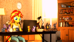 Size: 1920x1080 | Tagged: 3d, alicorn, anthro, artist:backmaker, book, bookshelf, computer, cup, laptop computer, model, mug, room, safe, source filmmaker, starlight glimmer, sunset shimmer, team fortress 2, trixie, twilight sparkle, twilight sparkle (alicorn)