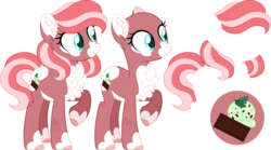 Size: 4848x2701 | Tagged: artist:sh3llysh00, bald, earth pony, female, magical lesbian spawn, mare, oc, oc:mint chocolate chip, offspring, parent:fluttershy, parent:pinkie pie, parents:flutterpie, pony, reference sheet, safe, simple background, solo, transparent background